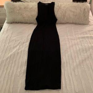 Nasty Gal black ribbed midi dress